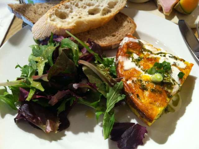 Le Pain Quotidien Butternut squash and Goat Cheese Frittata- this was my breakfast today!