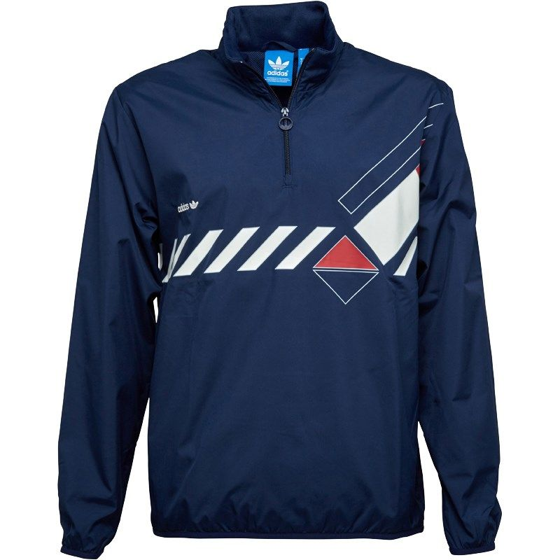 adidas Originals Mens Dominant Court 1/2 Zip Windbreaker Jacket ...