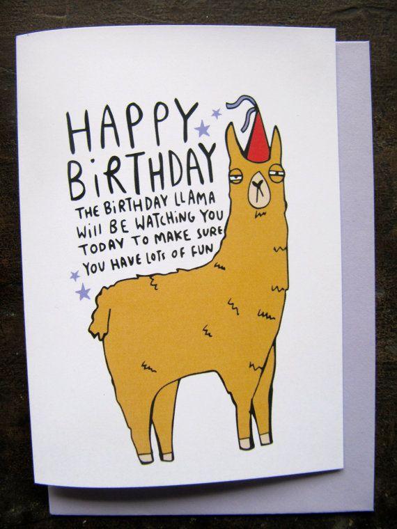 Birthday Llama A6 Card Lama Animal Card Funny Greeting Etsy In 2021 Funny Birthday Cards Birthday Card Puns Birthday Wishes Cards