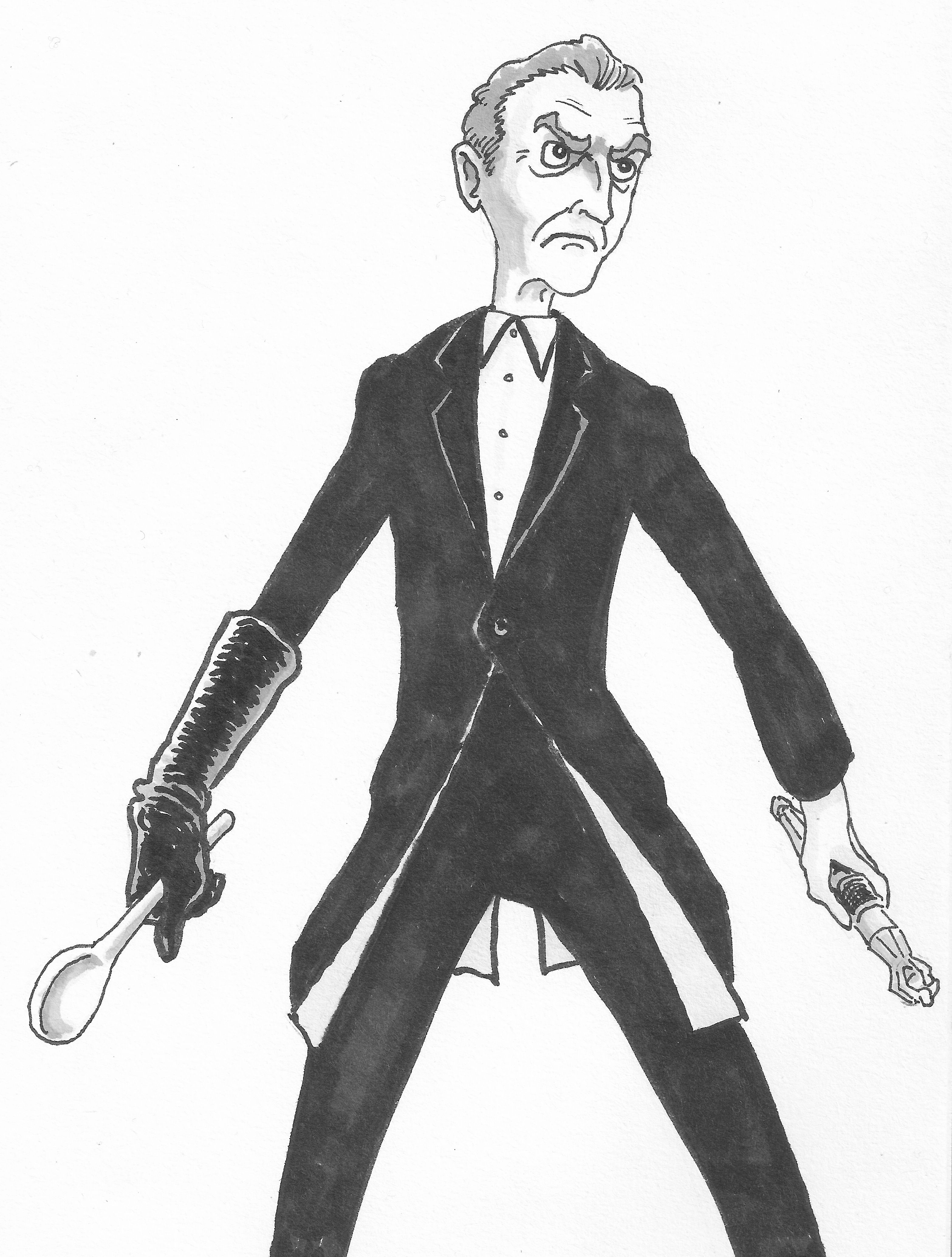 New Hotness... with a spoon!  Peter Capaldi as the 12th Doctor.  Fan art by Me.