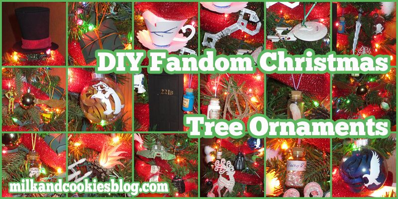 Fandom Christmas tree loaded with DIY ornaments from Star Trek, Star Wars, Sherlock, Once Upon a Time, Middle Earth, and Harry Potter.