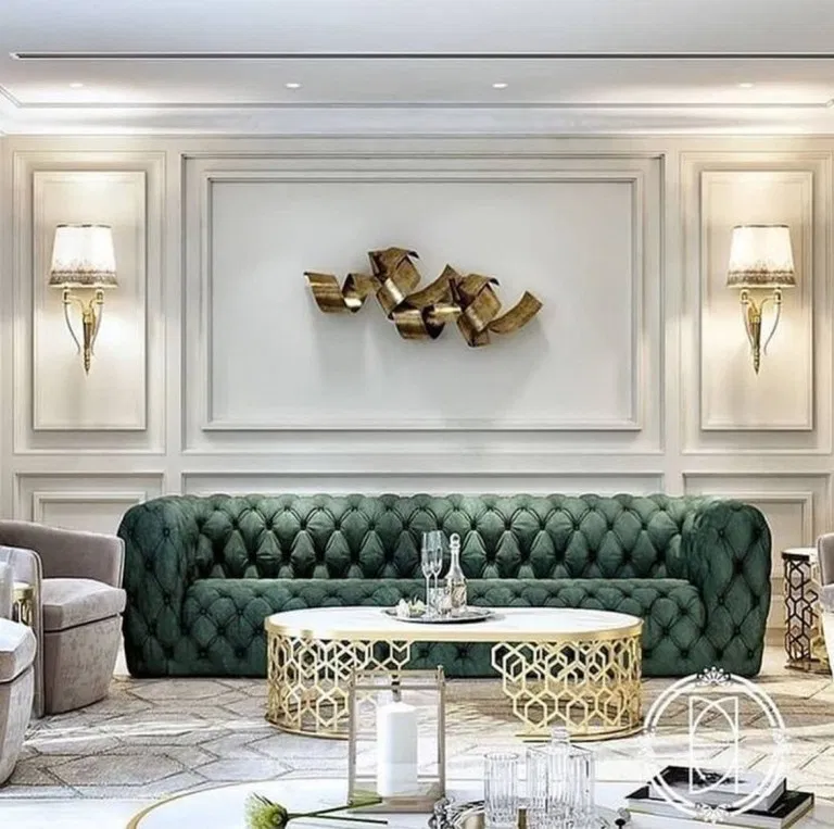 35 Beautiful Green Modern Style Living Room Decor With Green Velvet Tufted Sofa Lux Modern Style Living Room Decor Luxury Living Room Modern Style Living Room