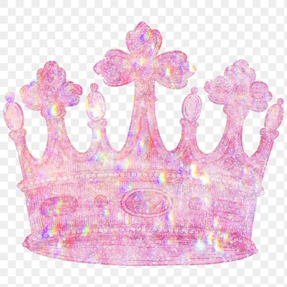 Pink Holographic Crown Sticker Overlay Design Element Free Image By Rawpixel Com Mind Crown Png Design Element Anime Stickers