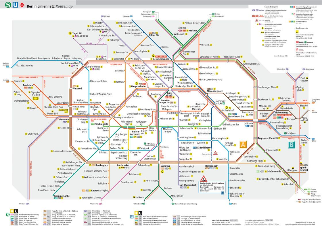 Printable & PDF maps of Berlin subway underground & tube u bahn with informations about the BVG network map the stations and the 10 lines & routes