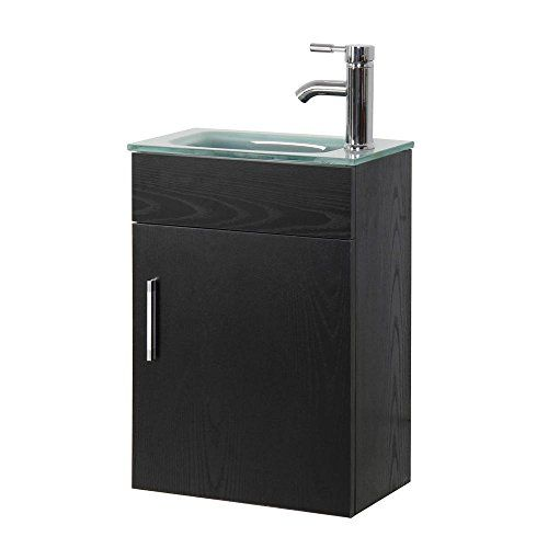 16 6 In Wall Mounted Vanity Set In Black With Tempered