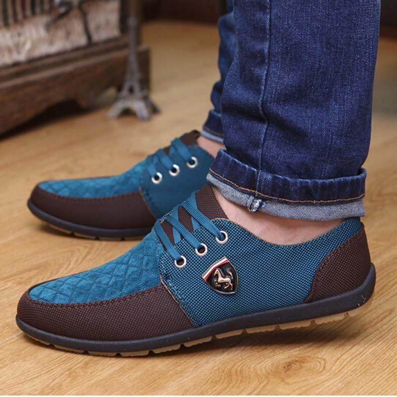 Espadrilles Mens Canvas Shoes Casual Shoes Breathable Outdoor Exercise Sneakers Lace-up Deck Shoes (Color : B Size : 40)