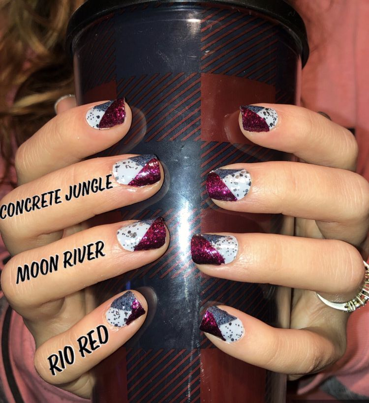 Concrete And Nail Polish Striped Nail Art: Concrete Jungle Base With Moon River And Rio Red