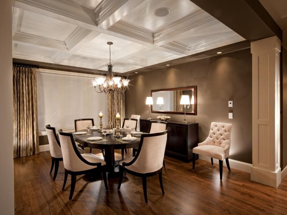 This Elegant Dining Room Showcases A Neutral And Brown Color Amusing Coffered Ceiling Dining Room Review