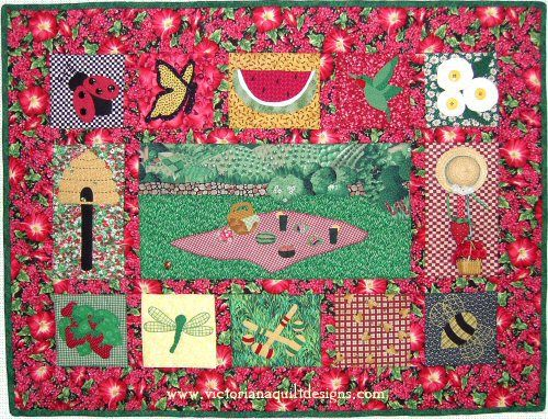 Strawberry Picnic A fun little wallhanging that celebrates strawberries and summer picnics! The quilt pattern is available exclusively through my site here: http://www.victorianaquiltdesigns.com/VictorianaQuilters/PatternPage/StrawberryPicnic/StrawberryPicnic.htm  #quilting #strawberries