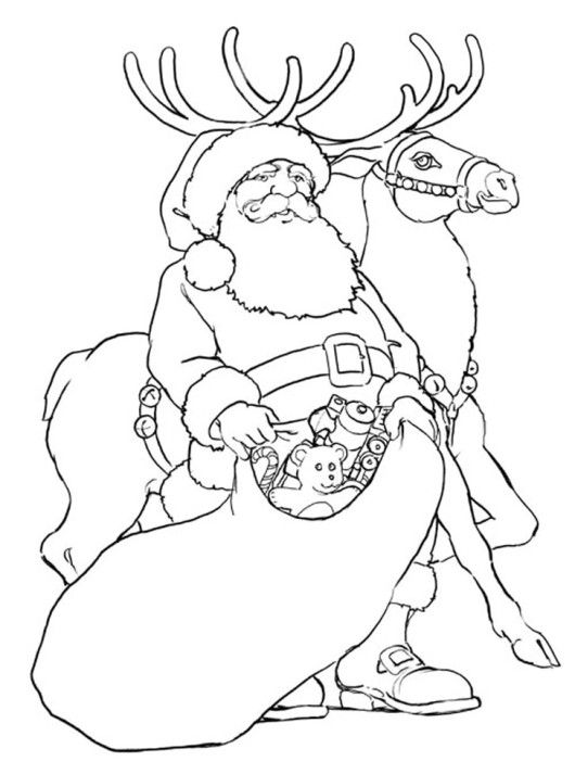 Santa and Rudolph Reindeer Giving Toys Christmas Coloring Page ...