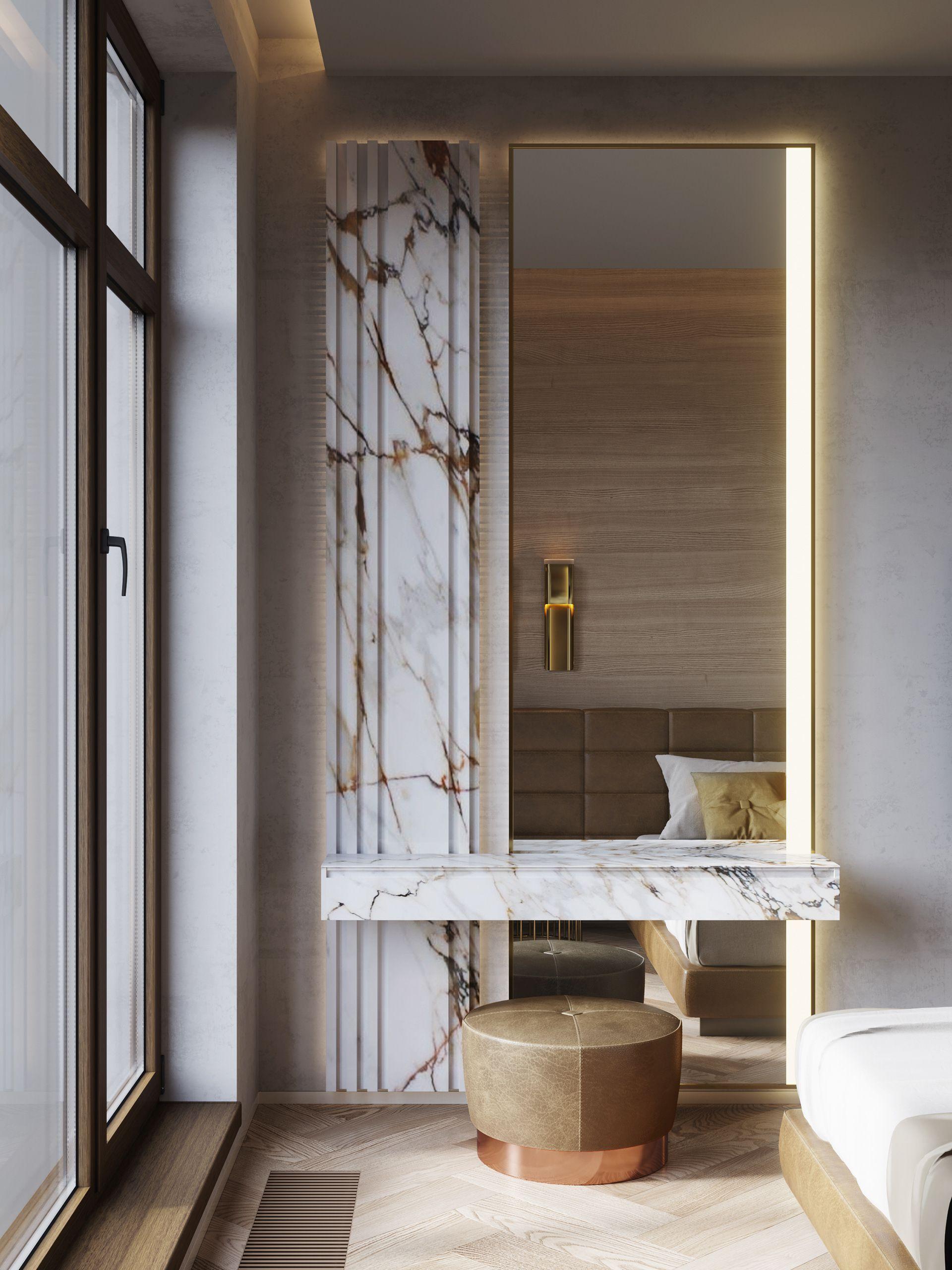 Coin Bureau Ou Coiffeuse Du0027une Chambre Du0027hôtel De Luxe, Marbre Et Or  #decoration #design #bed