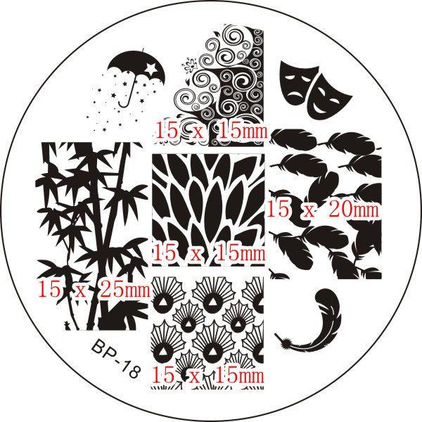$2.99 Leaf & Feather Nail Art Stamp Template Image Plate BORN PRETTY 18 - BornPrettyStore.com