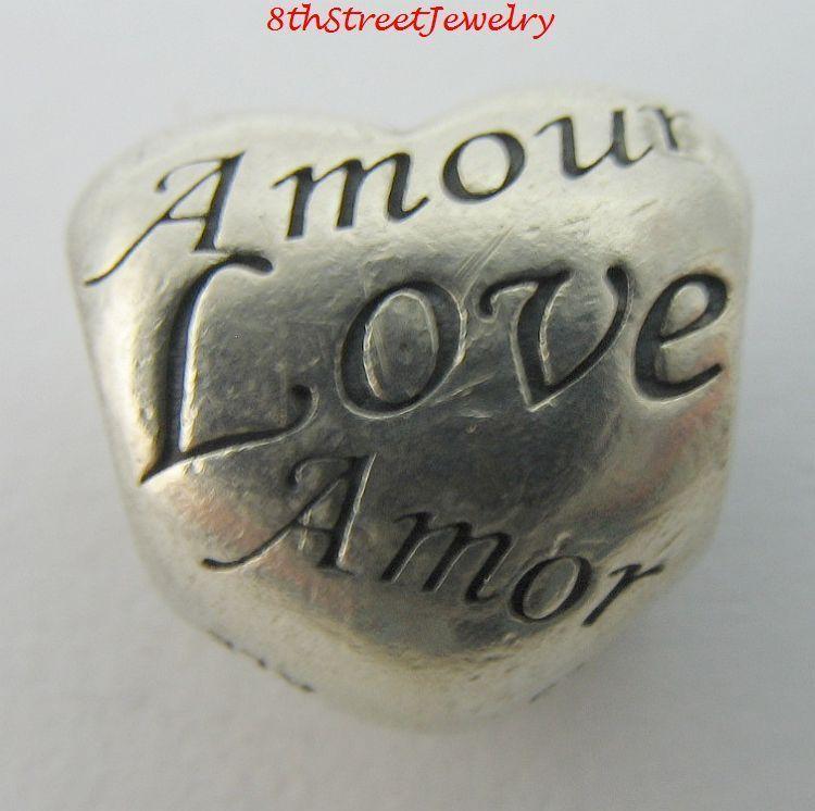 Pandora European Bead Charm Sterling Silver 925 Language of Love Heart 791111 #Pandora #European