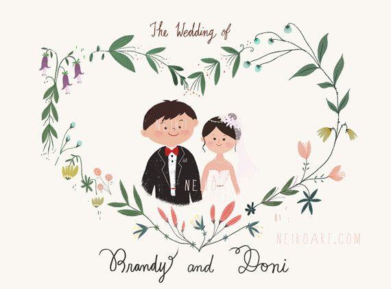 Wedding, wedding portrait, custom wedding portrait illustration, art by neiko ng