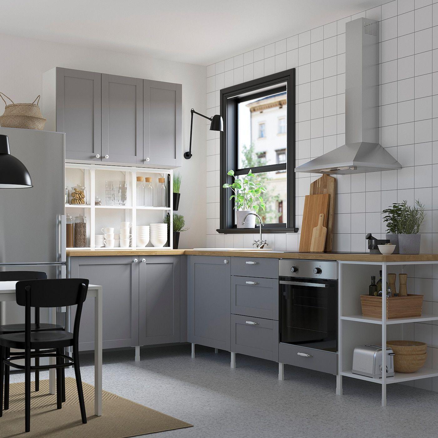 Enhet Hoekkeuken Wit Grijs Frame Ikea In 2021 Kastruimte Ikea Keuken