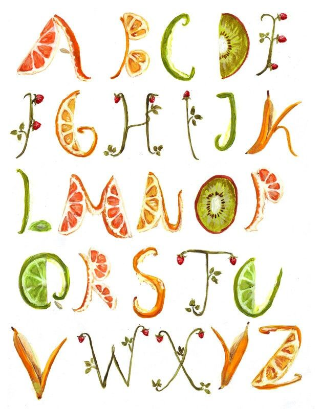 Fruit Alphabet Letters Fruit Letters Doodle Lettering