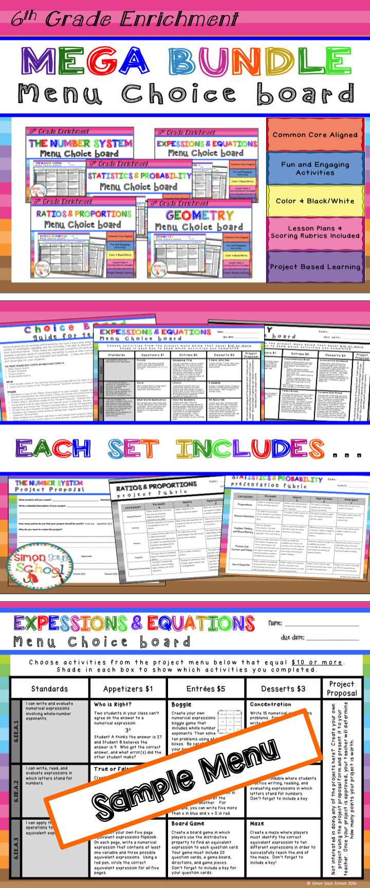 6th Grade Math Choice Boards Bundle – Enrichment Math Menus - ALL ...