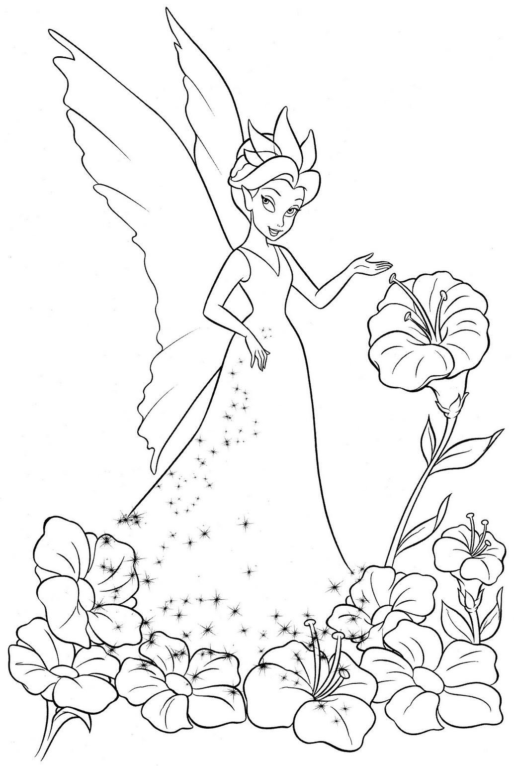 Coloring Pictures Of Tinkerbell And Her Fairy Friends