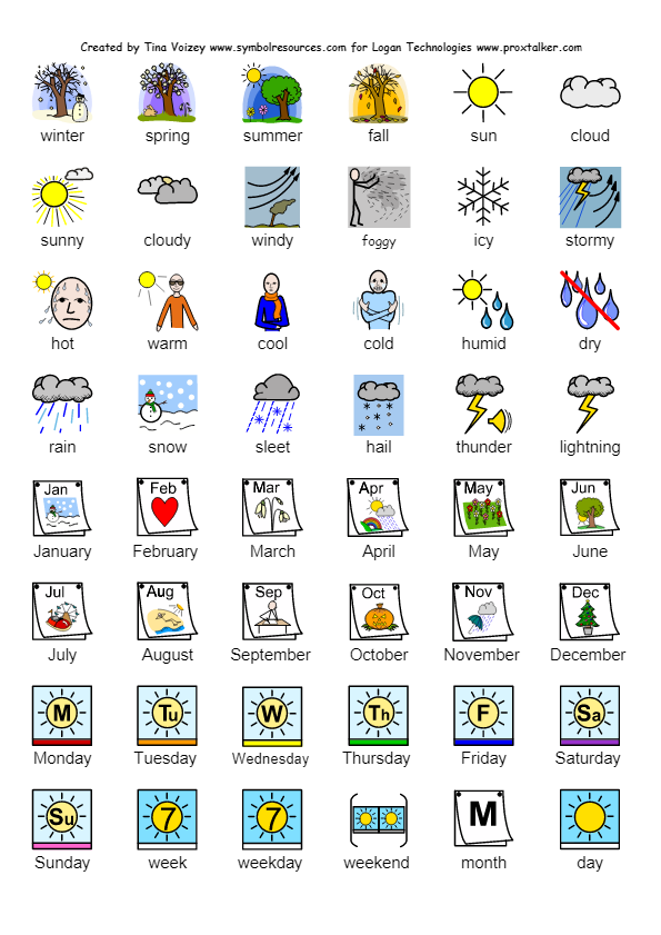 Calendar Symbols Printables : Calendar weather and seasons symbol sheet from