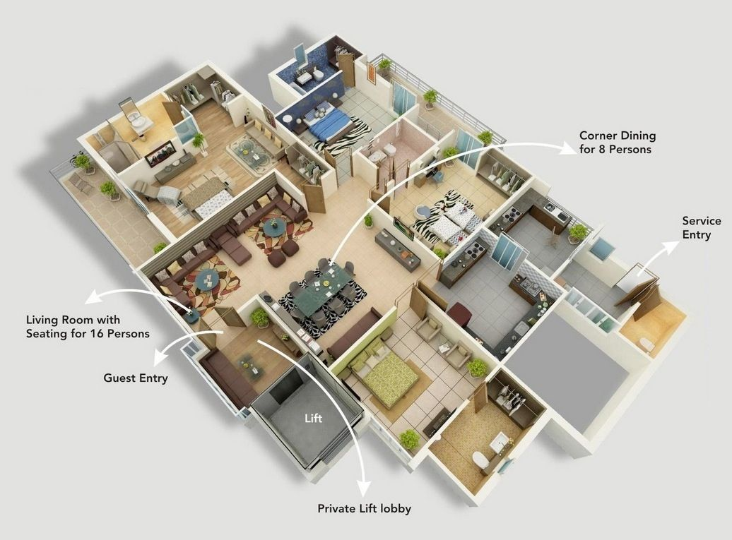 Superbe 50 Four Bedroom Apartment/House Plans
