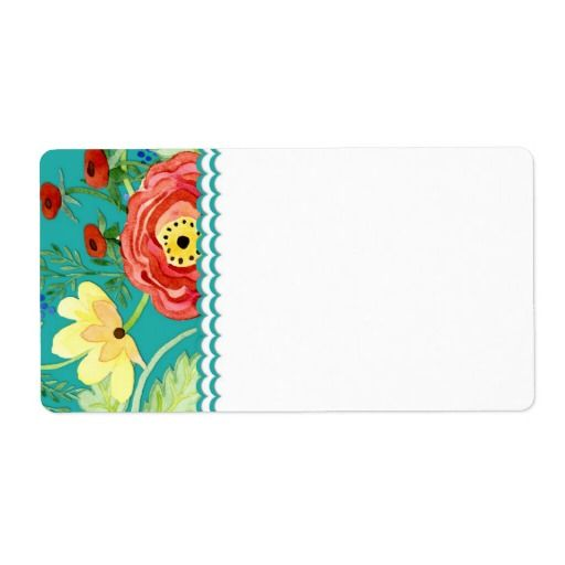 Mod Modern Floral Ranunculus Leaf Rose Bracket Custom Shipping Label