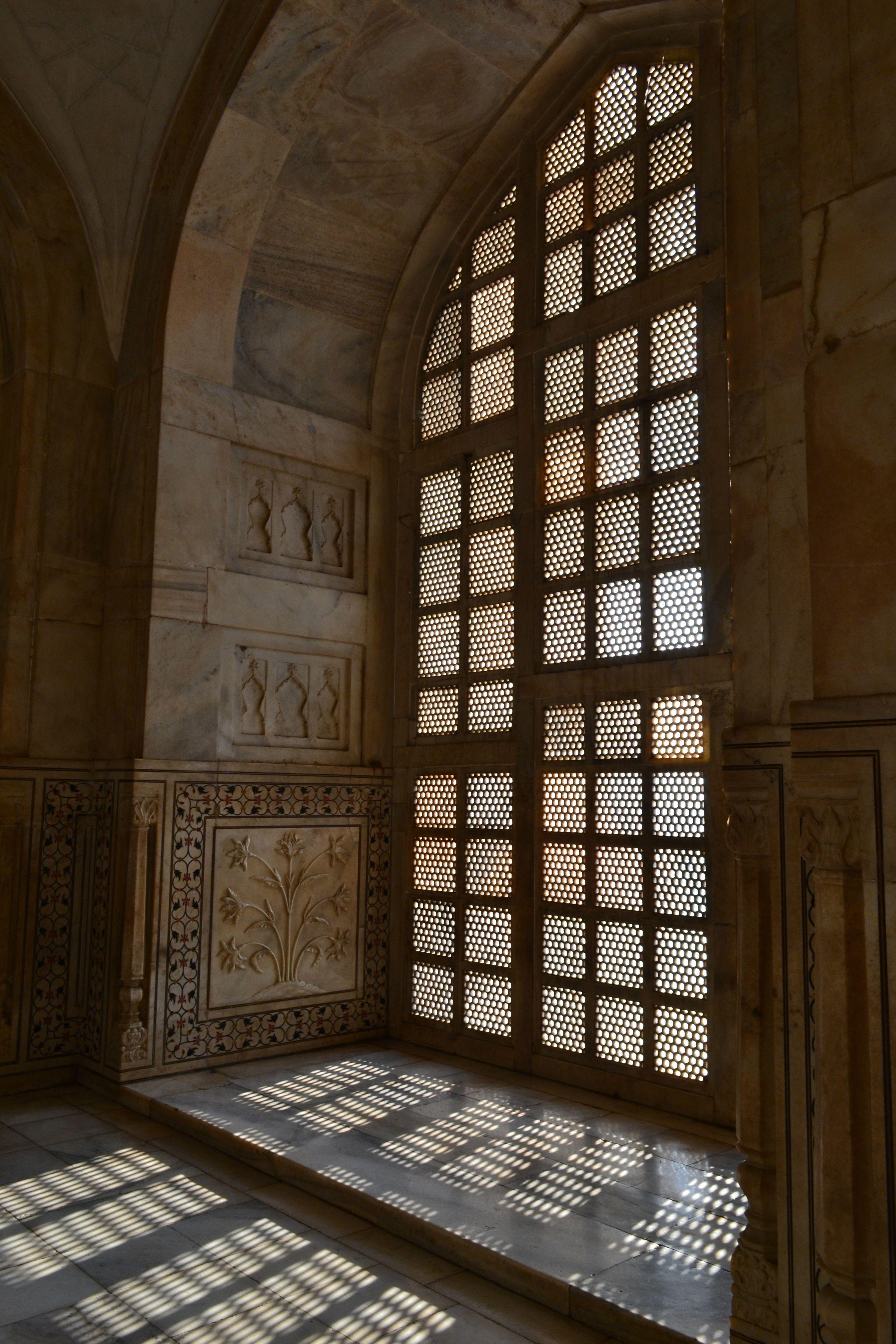 Intricate jail work at the Taj Mahal, India