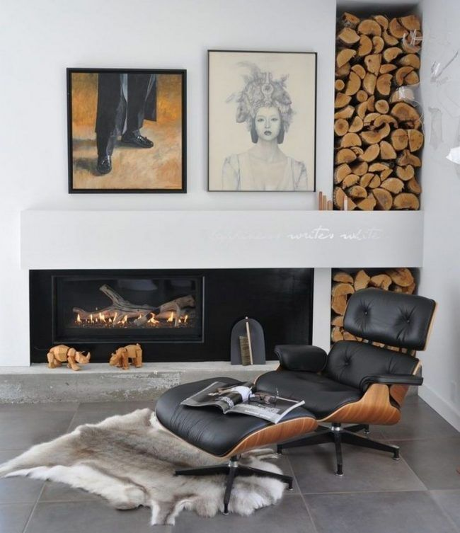 Brennholz lagern Wohnzimmer-drinnen-Feuerholz-Kunstfell Ausbau - brennholz lagern ideen wohnzimmer garten