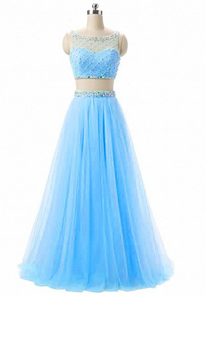 Two Pieces Bateau Bodice Beaded Prom Homecoming Dress