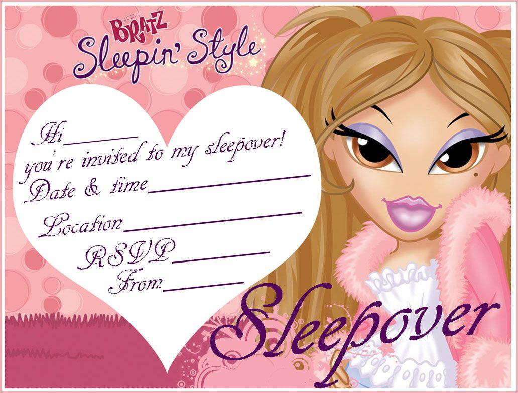 Bratz slumber party coloring pages