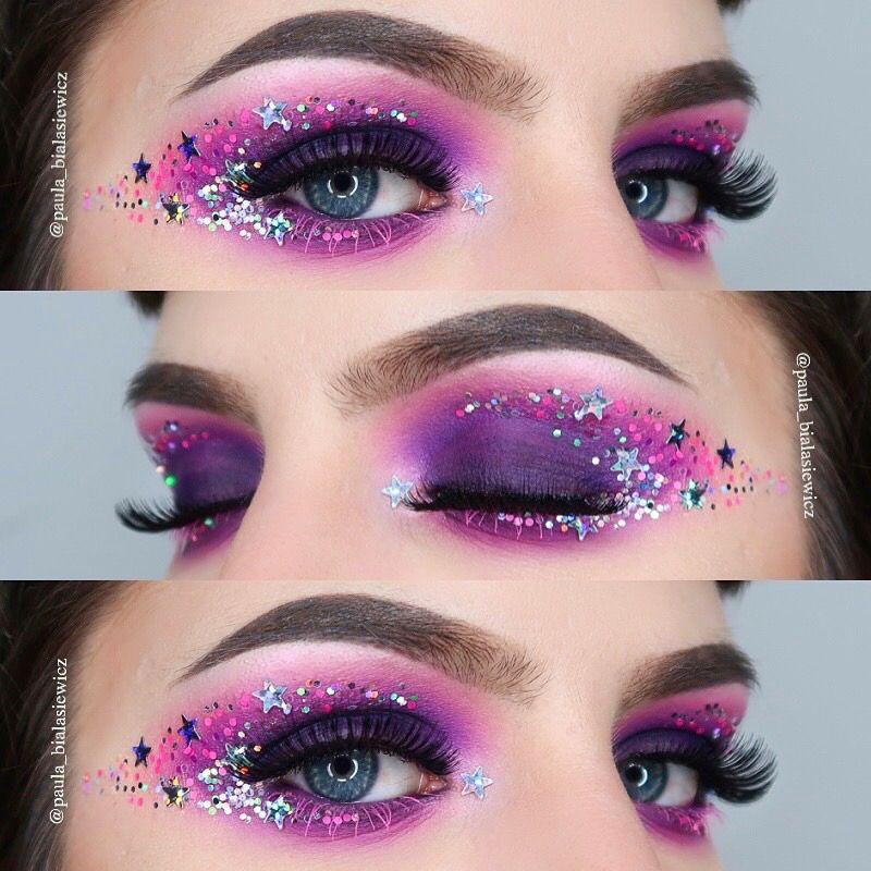 Glitter galaxy makeup purplemakeup glittersmoky