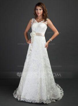 A-Line/Princess V-neck Court Train Satin Lace Wedding Dress With Sash Beading Flower(s) (002000187)