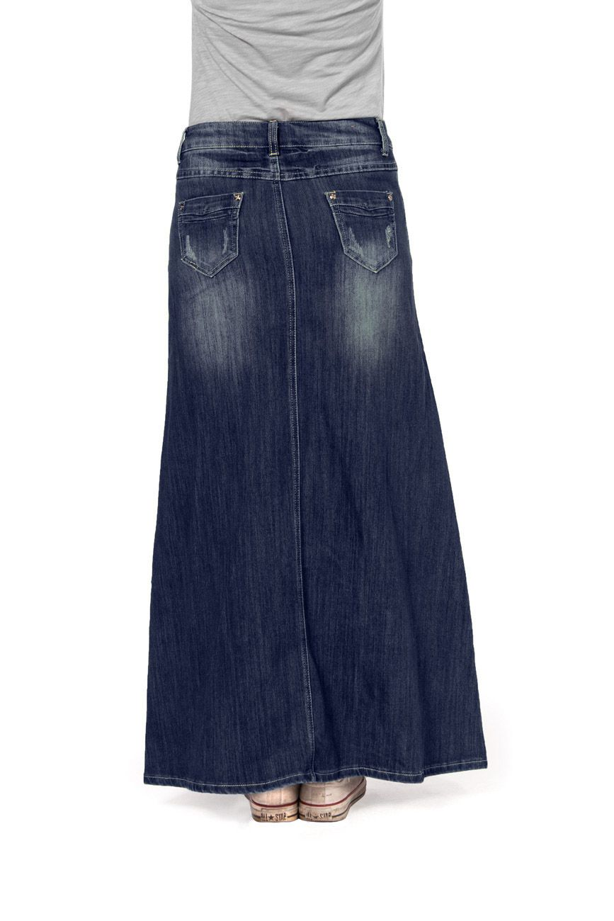 long dark wash denim skirt from Denim Skirts Online - UKsizes 8 ...