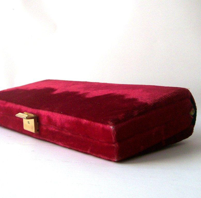 vintage red velvet clutch
