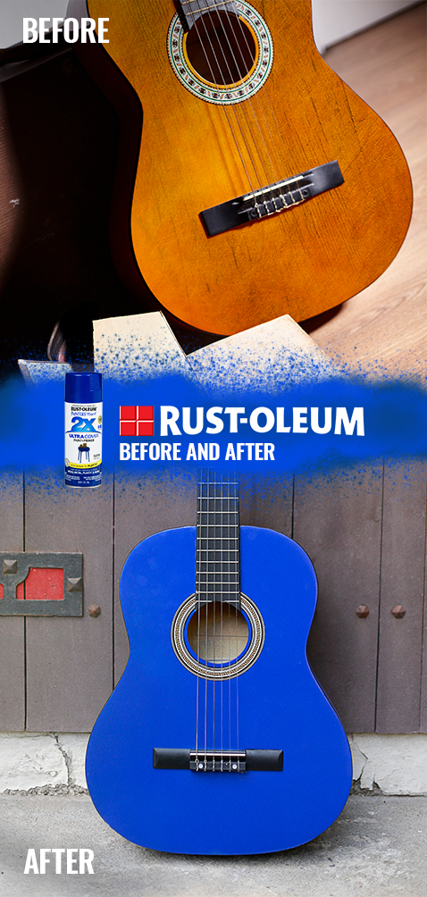 Change The Tune Of Your Acoustic Guitar By Painting It Blue Strum A Few Chords On A Flea Market Find Diy Spray Paint Spray Paint Projects Spray Paint Colors