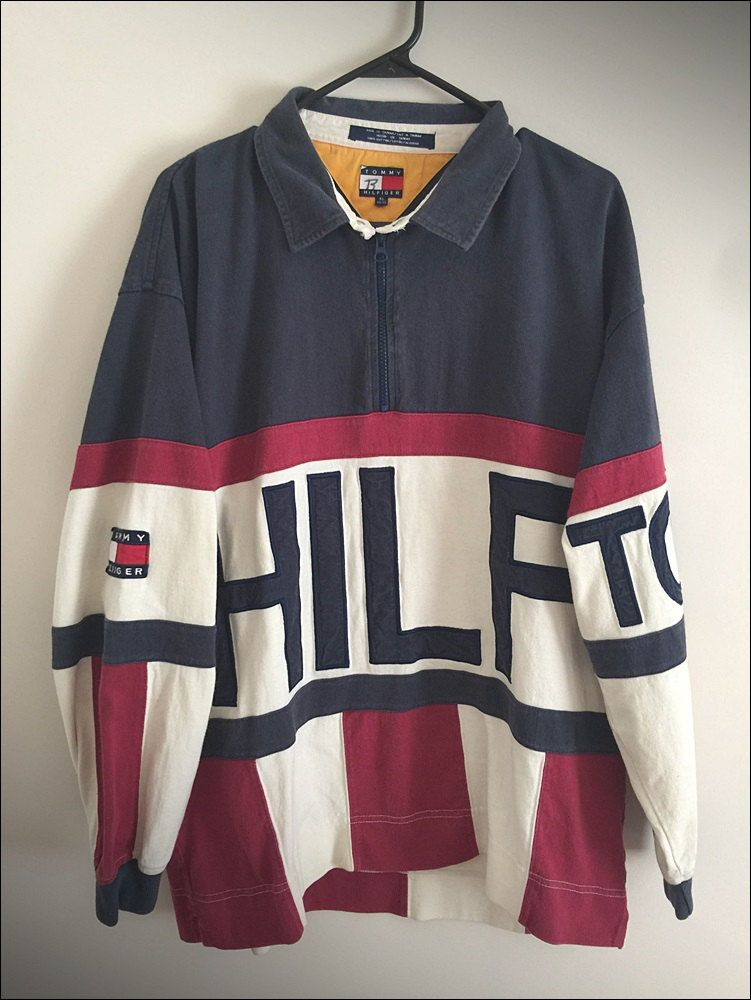 f36910831 Vintage 90 s Tommy Hilfiger Color Block Spelled Out LS Pullover - Size XL  by JourneymanVintage on Etsy