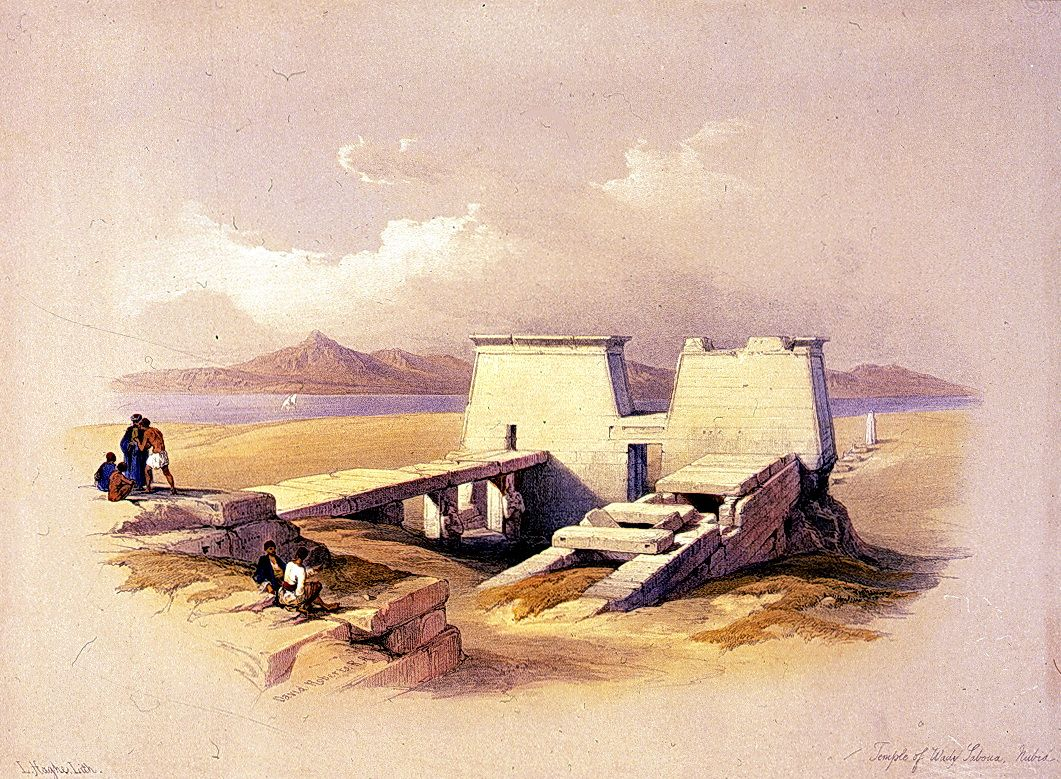Egypt , Old Cairo Paintings: David Roberts - Temple of Wadi Es-Sebua Nubia 1838