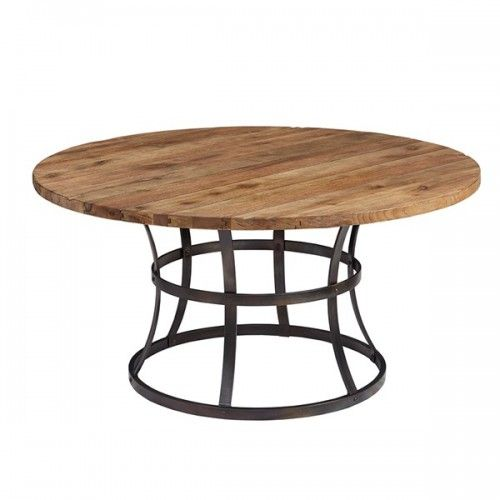 Reclaimed Elm Round Top Wrought Iron Base Farmhouse Dining ...