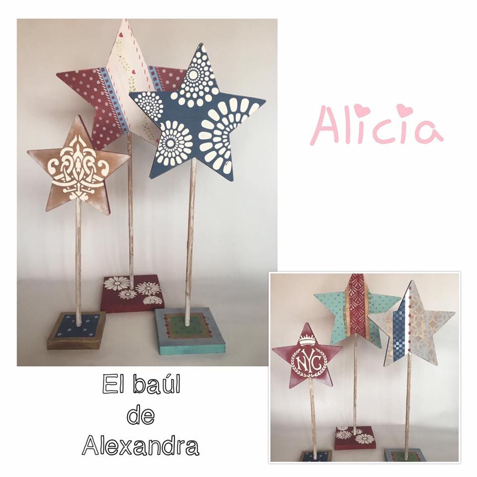 Estrellas Realizadas Con Pinturas Stencil Y Pasta De Relieve De  # Muebles Dayka Trade