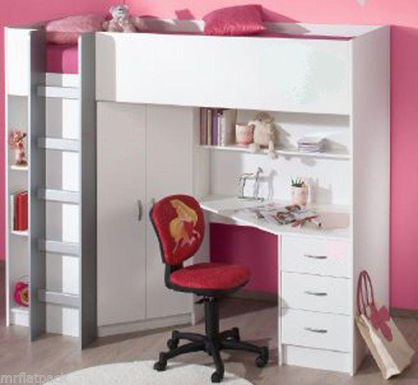 CABIN HIGH SLEEPER BED DESK WARDROBE DRAWERS R243W NEW & Cabin high sleeper bed desk wardrobe drawers r243w new | High ...