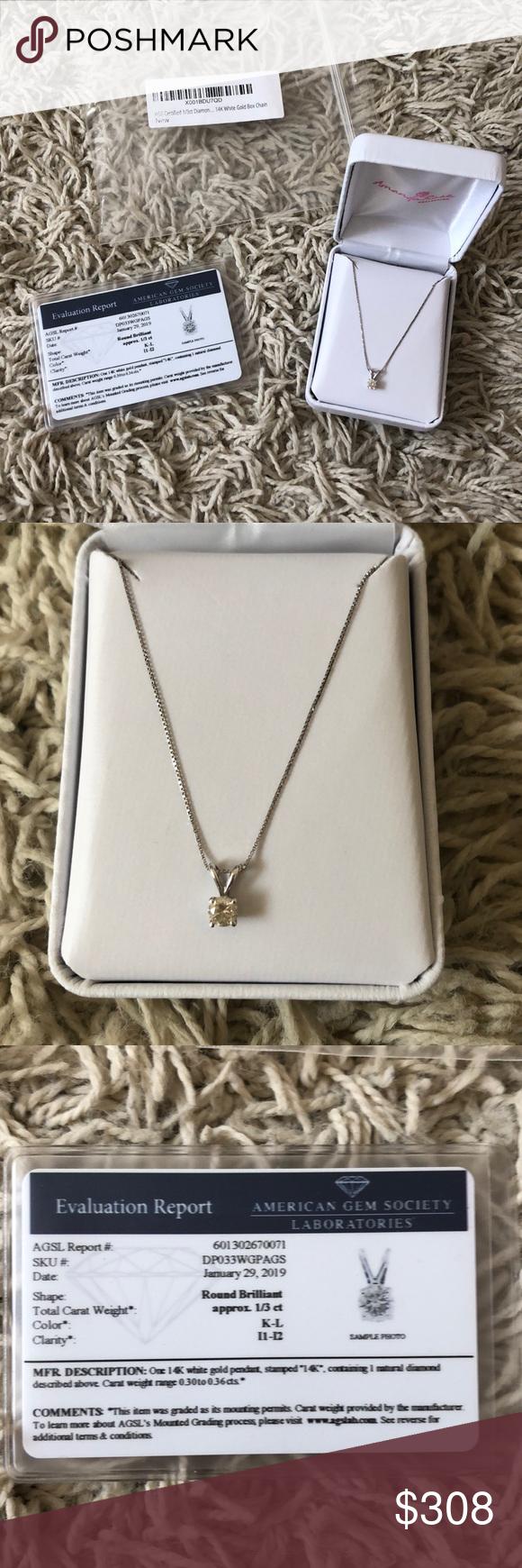 Diamond Necklace 1 3 Carat 14k White Gold Chain White Gold Chains 14k White Gold Chain Gold Chains