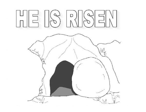The Tomb Where Jesus Rise In Resurrection Coloring Page