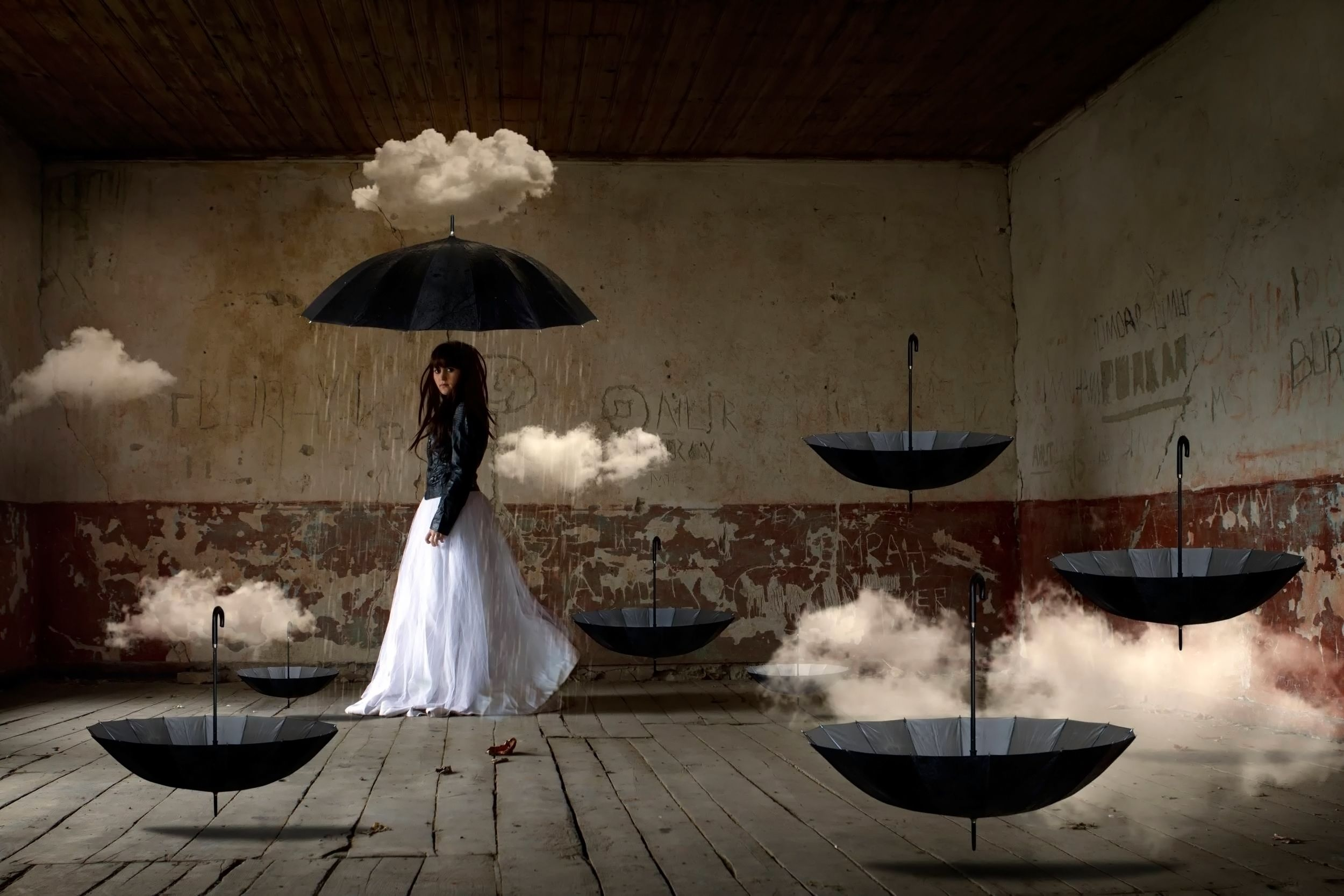 Girl in white dress and umbrella