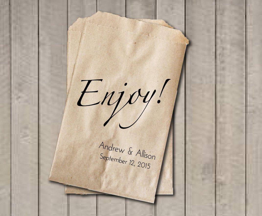 ENJOY Wedding Favor Bags, Enjoy Favor Bags, Personalized Wedding ...