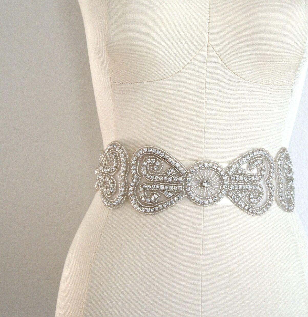 Burlap wedding dress sash  Deco Bridal Sash THE BARDOT Rhinestone Encrusted by VenustBridal