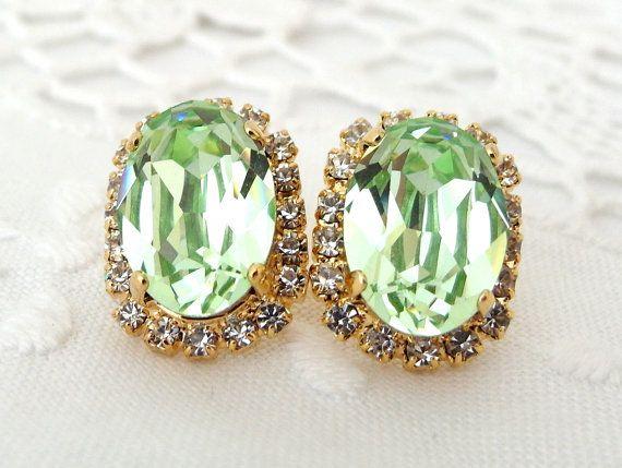 Mint Swarovski rhinestones stud earring Gold  by EldorTinaJewelry, $44.00
