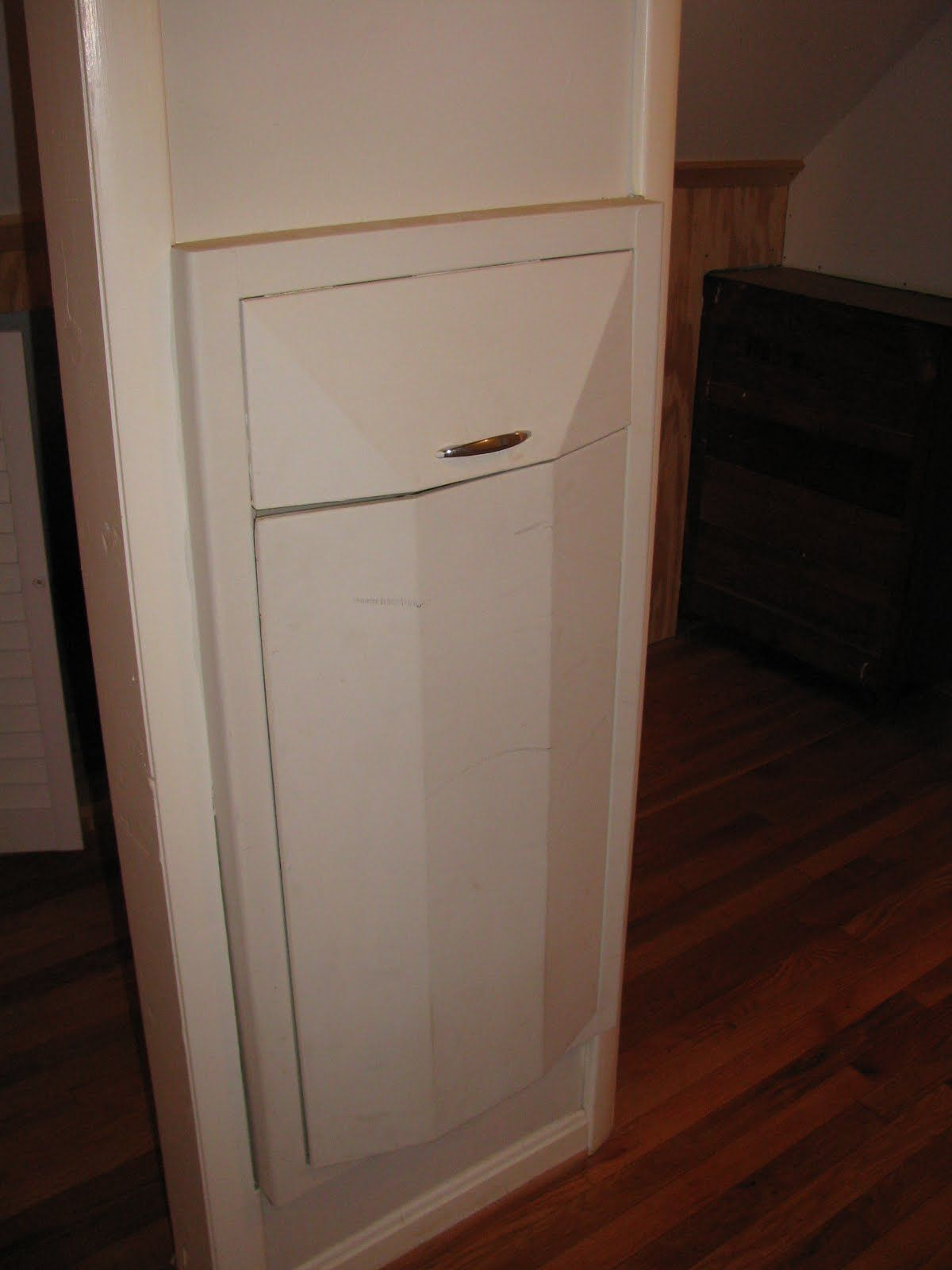 Laundry Trash Cans Between The Studs Built In Hamper Wonder If This Would Work For