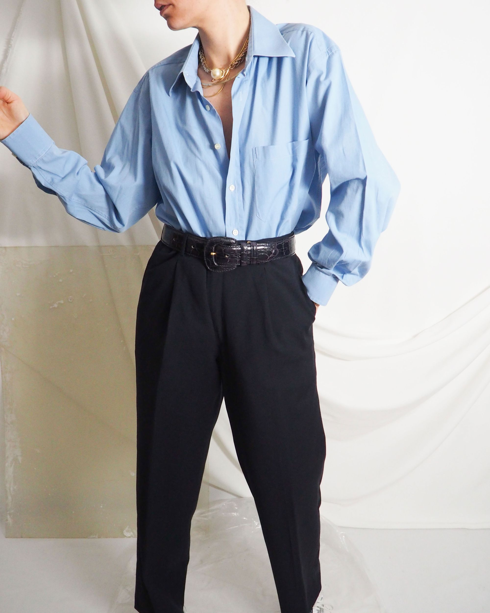 Vintage Blue Shirt With Midnight Navy Blue Wool Pleated Pants And Gold Jewelry Untitled 1991 In 2020 Vintage Clothing Online Vintage Outfits Online Shopping Clothes