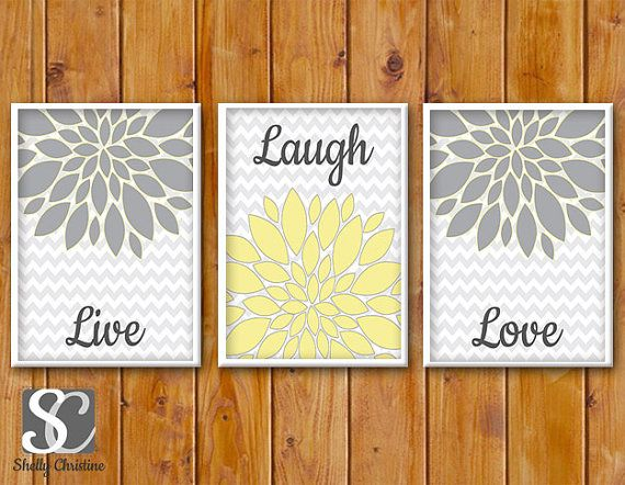 Live Laugh Love Floral Flower Wall Art Gray Yellow living room Decor ...