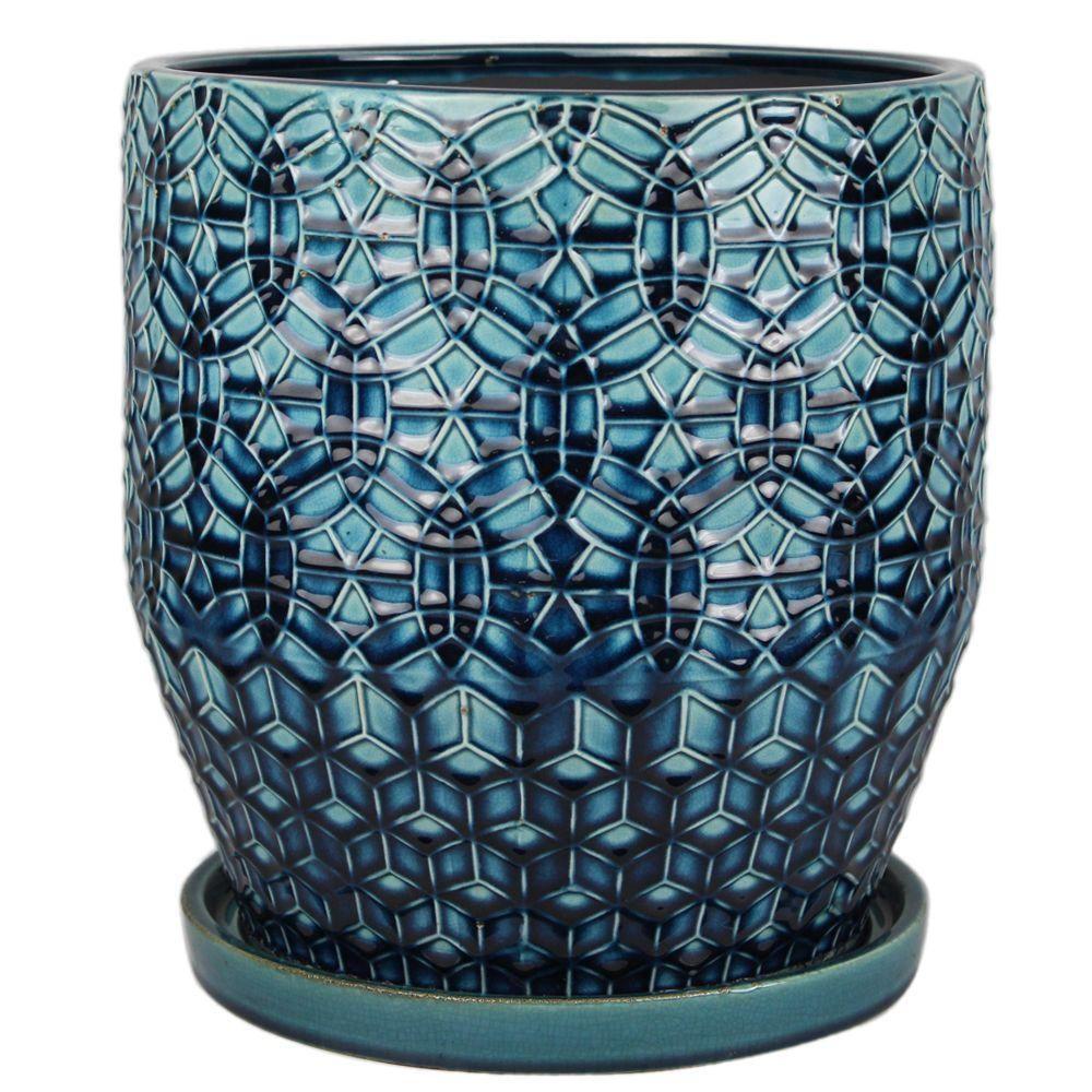 12 in. Dia. Dark Blue Ceramic Rivage Pot-CR10853-12A - The Home ...