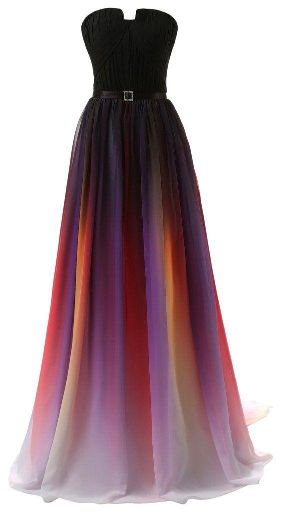 Eudolah New Gradient Colorful Sexy Ombre Chiffon Prom Dress Evening Dresses Purple White Size 8